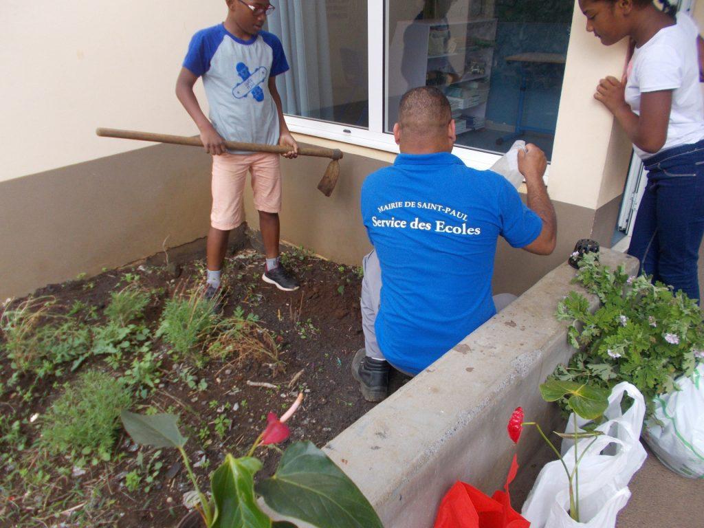 Plantation de fleurs près des classes