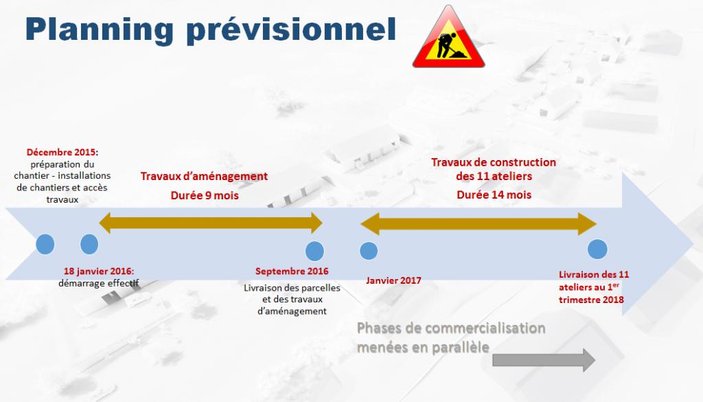 Le calendrier prévisionnel des travaux de la zone d'activités de Bras-Montvert à Trois-Bassins