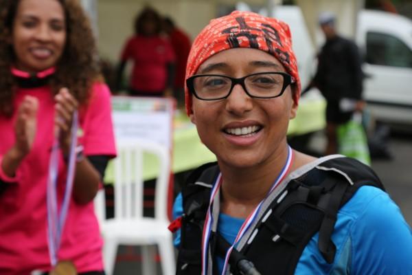 Jennifer Marine 1ère féminine du Trail du Grand Ouest (70 km en individuel) de Saint-Paul au Plate Saint-Leu en 10h 05min 21s.